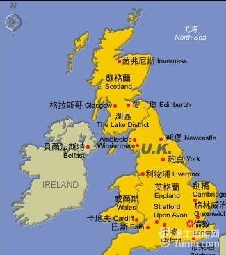 欧洲地形图中文版-英国旅游地图