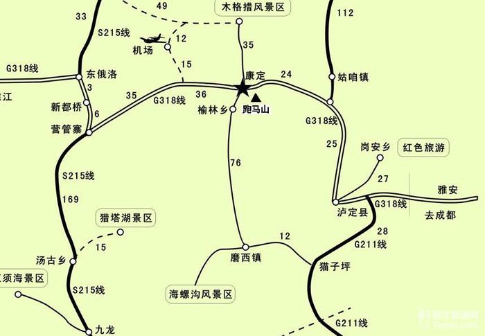 【康定旅游攻略】康定旅游地图